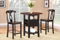 """3-Piece Pack Counter Height Set Table : 36 x 22 - 29 - 36 x 36H (Drop Leaf : 7"""") Chair : 18 x 20.5 x 40.5H Product Image"""