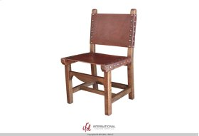 Wooden chair with leather on seat and back