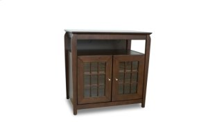 """32"""" Wide Hi Boy Credenza, Solid Wood and Veneer In A Walnut Finish, Accommodates Most 37"""" and Smaller Flat Panels"""