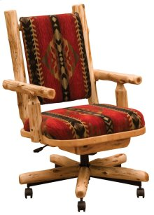 Upholstered Executive Chair Natural Cedar, Upgrade Fabric