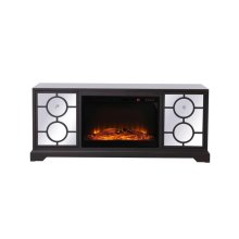 60 in. mirrored TV stand with wood fireplace insert in dark walnut