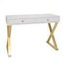 White Lacquer Desk With Gold Leafed Base Product Image