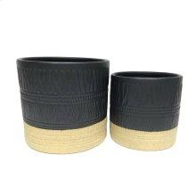 """S/2 Ceramic 6/5"""" Planters, Black/beige"""