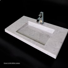 Wall-mount or vanity top stone Bathroom Sink with preinstalled concealed drain, no overflow. Requires brackets for wall-mount installation.