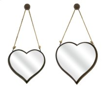 Heart Shape Wall Mirrors - Set of 2
