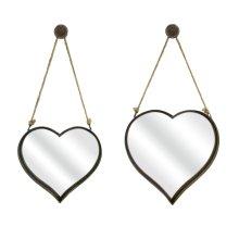 Heart Shape Wall Mirrors - Set of 2