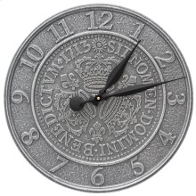 "Three Crowns In Coin 16"" Indoor Outdoor Wall Clock - Pewter/Silver"