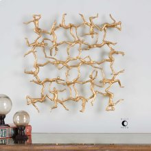 Golden Gymnasts Wall Square