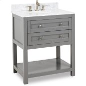 """This 30"""" vanity has a grey finish, satin nickel hardware and clean lines with a stepped door profile. Includes preassembled top and bowl."""