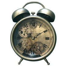 Aged Bronze and Brass Gears Table Clock