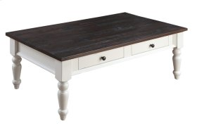 2 Drawer Cocktail Table-antique White Base W/brn Rustic Plank Top Rta
