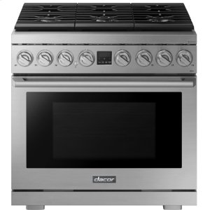 "DacorTransitional 36"" Gas Range, Silver Stainless Steel, Natural Gas/Liquid Propane"