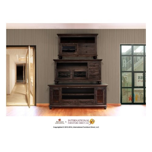 76in TV Stand w/2 drawers, 2 doors - Black Finish
