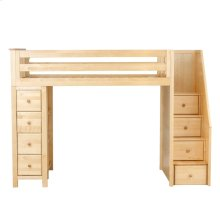 All in One Staircase Loft Bed Storage Natural