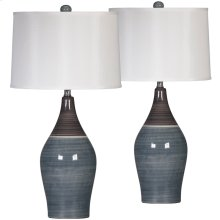 Exceptional Designs by Flash Niobe Multi Gray Ceramic Table Lamp, Set of 2