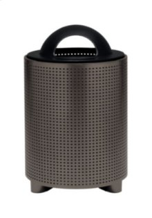 District Round Waste Receptacle with Dome Hood, Square Pattern
