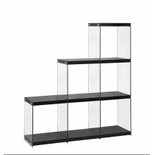 - Three tier, six shelf staircase bookcase finished in glossy black- Clear tempered glass side panels- Chrome details- Constructed with glass, MDF.- Also available in glossy white (#801261)