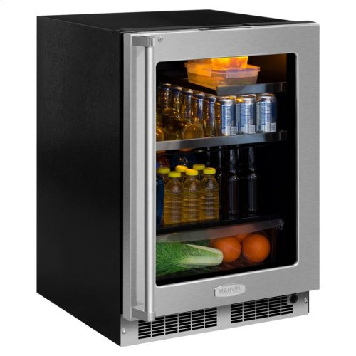 """24"""" Beverage Refrigerator with Drawer - Stainless Frame, Glass Door With Lock - Integrated Right Hinge, Professional Handle"""