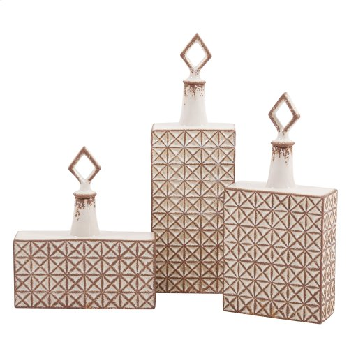 Rectangular Ceramic with Geometric Design Jar, Medium