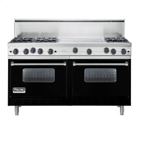 "Black 60"" Open Burner Commercial Depth Range - VGRC (60"" wide, six burners 24"" wide griddle/simmer plate)"