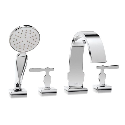 Aimes® Deck-Mount Tub Filler Trim with Handshower - Polished Chrome Finish