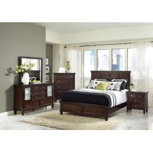 Transitional Cappuccino Queen Five-piece Bedroom Set