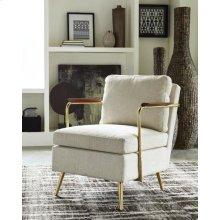 Modern Beige and Brass Accent Chair