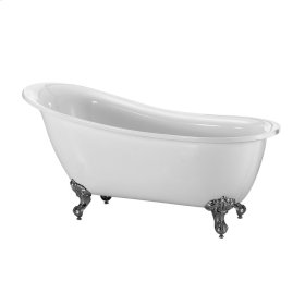"Demille Acrylic Slipper Tub - 51"" White - Brushed Nickel"
