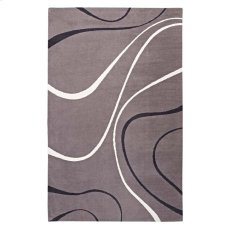 Therese Abstract Swirl 5x8 Area Rug in Charcoal, Black and Ivory Product Image