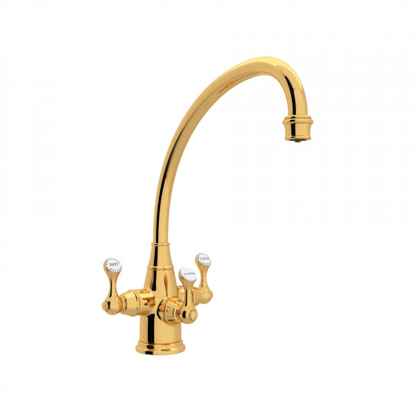English Gold Perrin & Rowe Georgian Era Filtration 3-Lever Kitchen Faucet with Etruscan Metal Lever