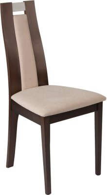 Quincy Espresso Finish Wood Dining Chair with Curved Slat Wood and Beige Fabric Seat