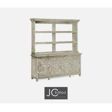Rustic Grey Parquet Welsh Dresser with Strap Handles