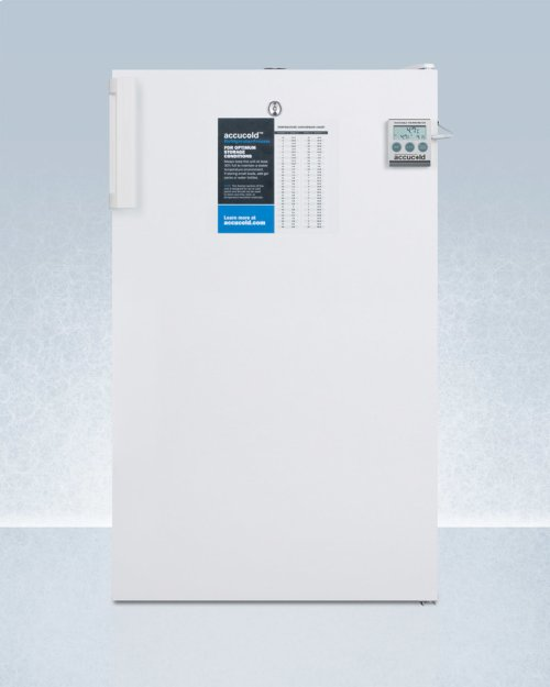 """ADA Compliant 20"""" Wide Commercial Refrigerator-freezer for Freestanding Use With Nist Calibrated Thermometer, Internal Fan, and Front Lock"""