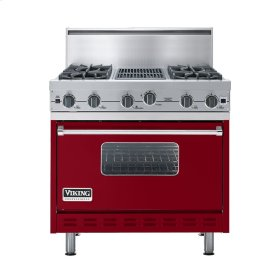 "Apple Red 36"" Open Burner Commercial Depth Range - VGRC (36"" wide, four burners 12"" wide char-grill)"
