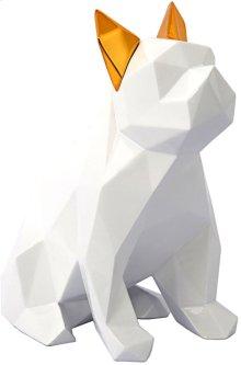 Mans Best Friend Sculpture - White and Gold