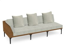 "98"" Tan Rattan Right Three-Seat Sofa Sectional, Upholstered in Standard Outdoor Fabric"
