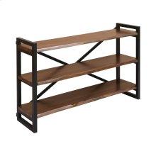 South Loop Dark Brown With Black Acacia Wood and Metal Sofa-back Shelf