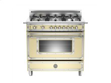 36 inch All Gas Range, 6 Brass Burner Matt Cream