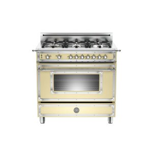 Bertazzoni36 inch All Gas Range, 6 Brass Burner Matt Cream