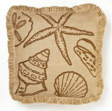 Brown Shells Burlap Pillow