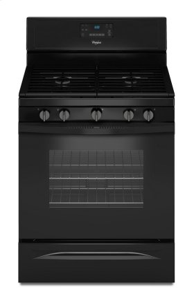 Closeout, While Supplies Last, Whirlpool 5.0 cu. ft. convection gas range and microhood in black.