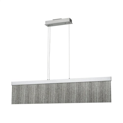 Meadowland 1-Light Island Light in Satin Aluminum and Chrome with Textured Glass - Integrated LED