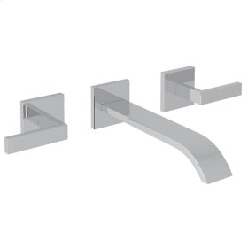 Polished Chrome Wave 3-Hole Wall Mount Tub Filler With Lever Handles with Metal Lever