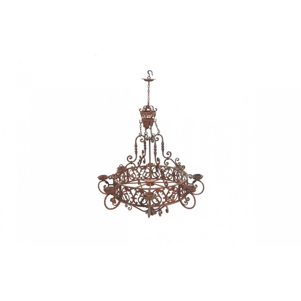 Factory 4 Rustic Large Rust 8 Light Chandelier