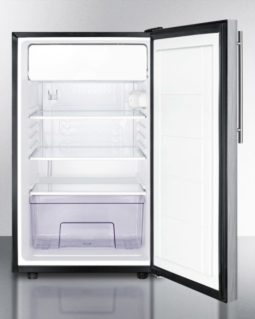 "20"" Wide Built-in Refrigerator-freezer With A Lock, Stainless Steel Door, Thin Handle and Black Cabinet"