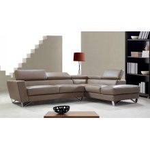 Divani Casa Waltz- Beige Leather Sectional Sofa