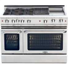 "48"" Gas Self Clean,Rotisserie,4 Open Burners,12"" Broil Burner & Griddle"