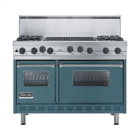 "Iridescent Blue 48"" Sealed Burner Self-Cleaning Range - VGSC (48"" wide, four burners & 24"" wide char-grill)"