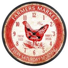 Farmers Market Red Wall Clock