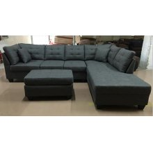 GREY LINEN WITH TUFTING OTTOMAN